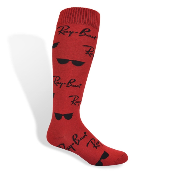 Flat Knit Cotton Knee High Dress Sock With All Over Design