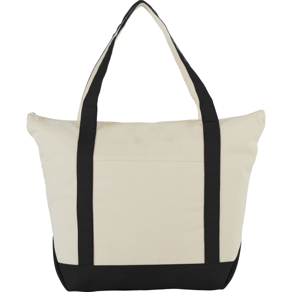 Zippered 12oz Cotton Canvas Tote