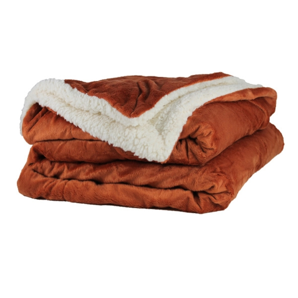 Sherpa Throw Blanket - Burnt Orange