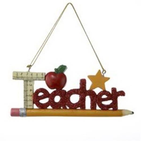 Red Glitter Teacher Ornament