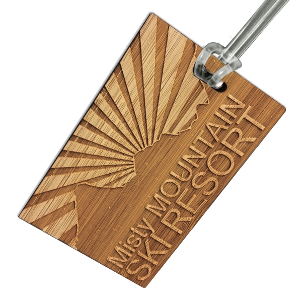 Etched Bamboo Bag Tags (4 Square Inches)