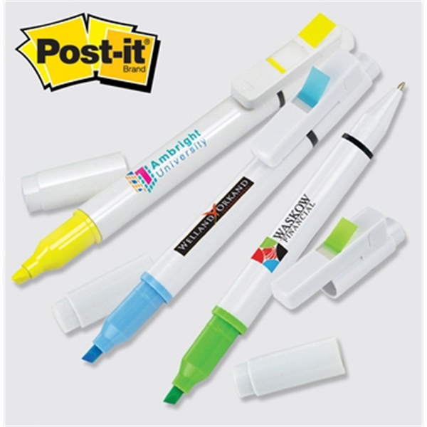 Flag + Pen and Highlighter Combo - Flag, pen and highlighter combo with 50 flags, 2 color imprint.
