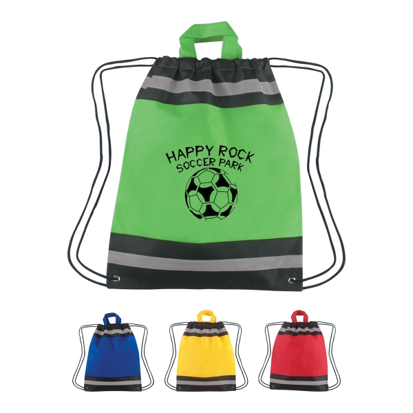Small Non-Woven Reflective Hit Sports Pack - Small reflective sports pack with carrying handles and reinforced eyelets.