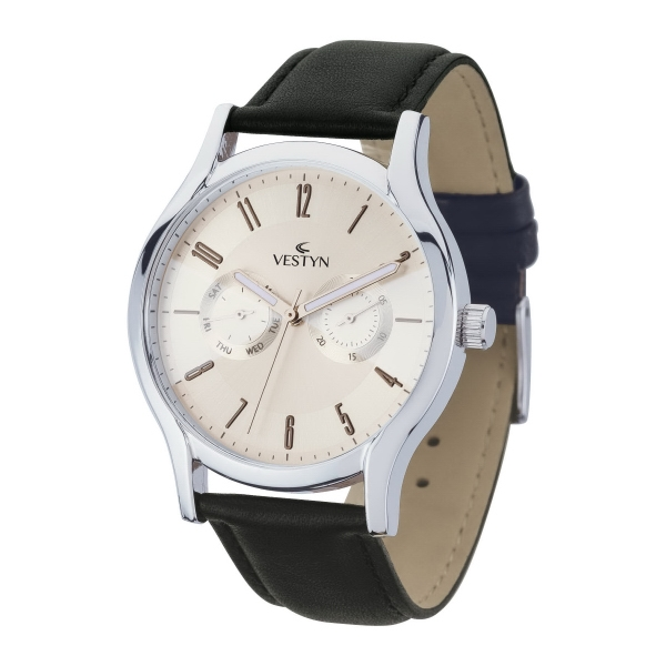 Unisex Multi-function Watch w/ Genuine Leather Straps
