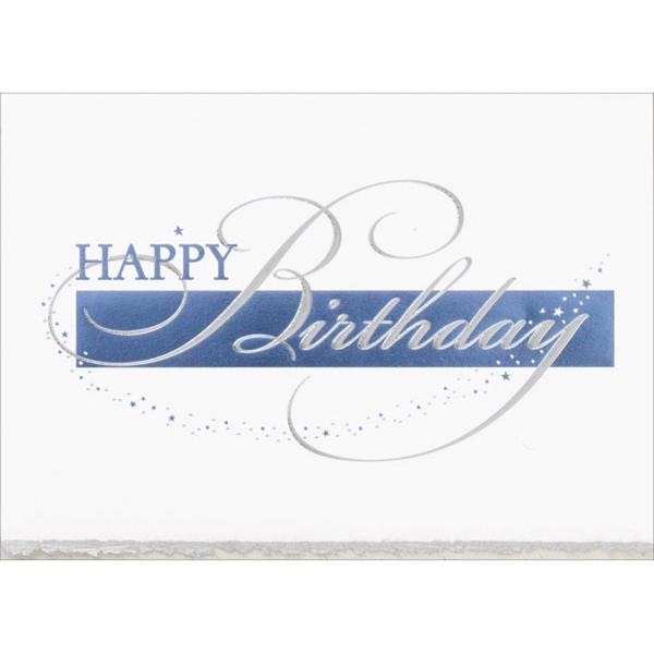 Blue & Silver Foil Birthday Card - Blue & Silver Foil Birthday Card