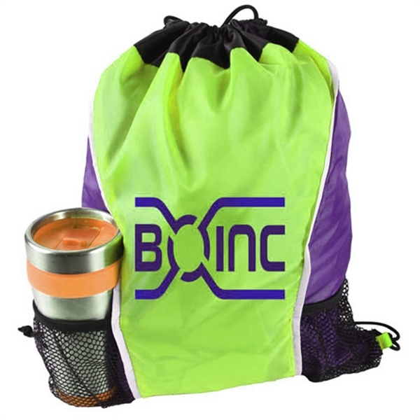 Dual Color Drawstring Bag w/ Two Water Bottle Holder