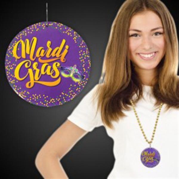 "Mardi Gras Plastic Medallions - 2 1/2"""