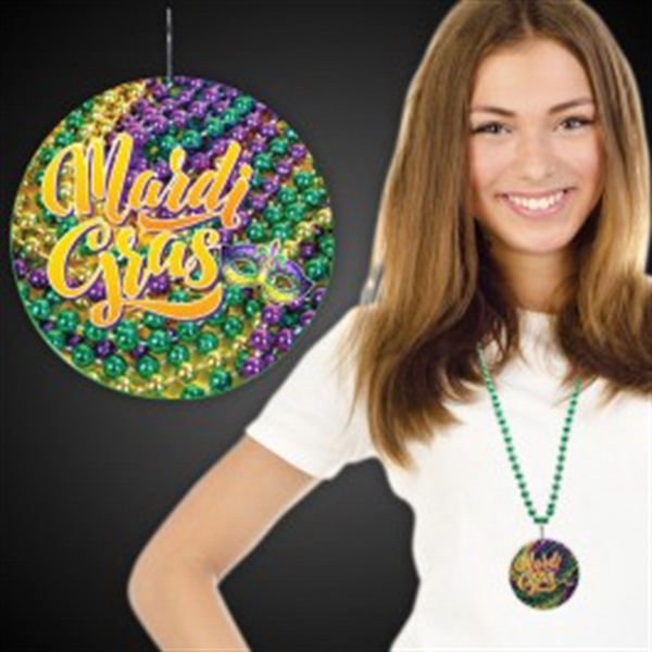 "Mardi Gras Beads Plastic Medallions - 2 1/2"""