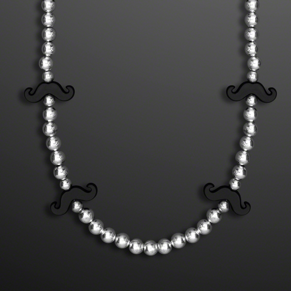 "36"" Black Mustache Beads on Silver Strands"