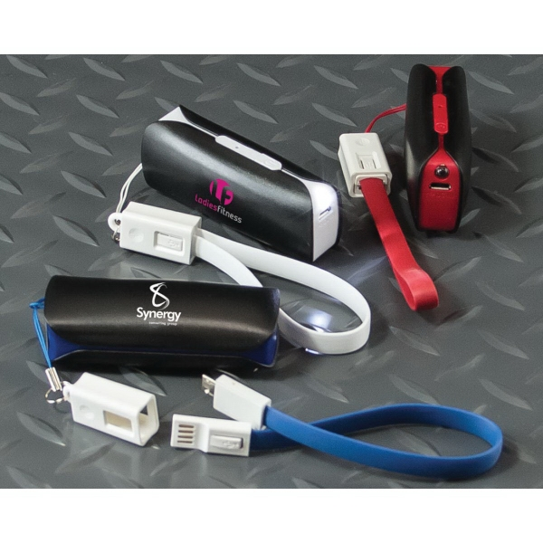 Mini Power Bank Charger w/LED Light & Wrist Strap