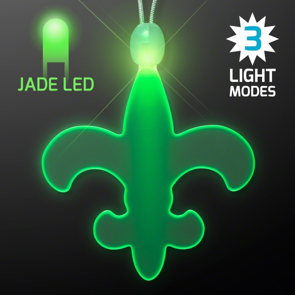 Light Up Fleur de Lis Acrylic Green LED Necklace