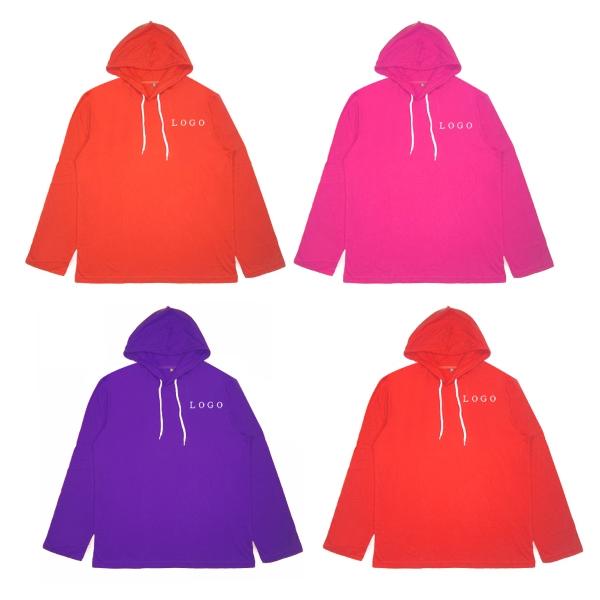 Lightweight Cotton Long-sleeve Hooded Tee Sweatshirt