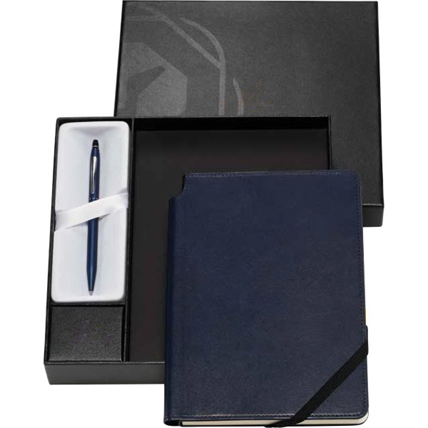 Chrome Ballpoint Pen with Classic Black Journal
