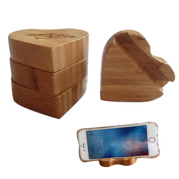 Bamboo Heart Shape Phone Holder