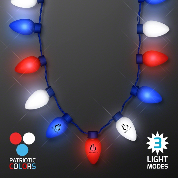 Red, White & Blue Light Bulb Necklace