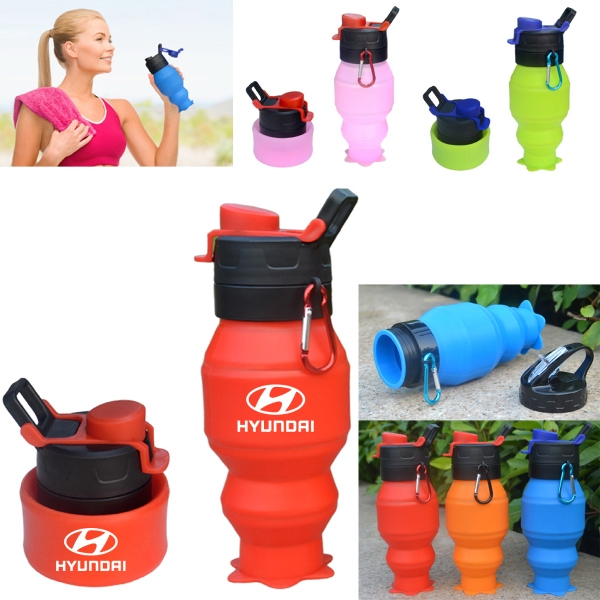 Magic Silicone Collapsible Water Bottle   - 18 Oz
