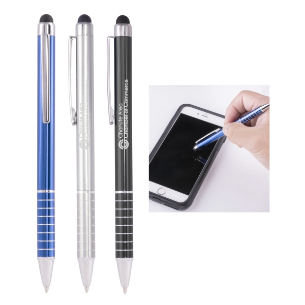 Stylus Ballpoint Pen & Stripped Grip and Shining Accents