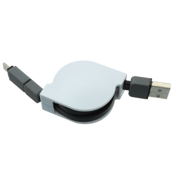 Self-spooling USB charging cable for Apple & Android product