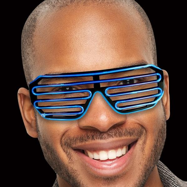 Blue LED Slotted EL Sunglasses
