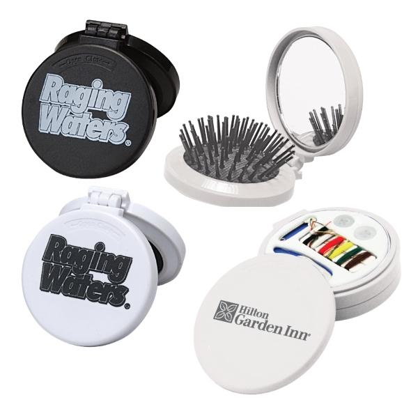 Round Hairbrush, Mirror & Sewing Kit