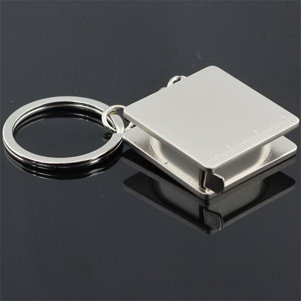 Metal Square Tape Measure Keychain