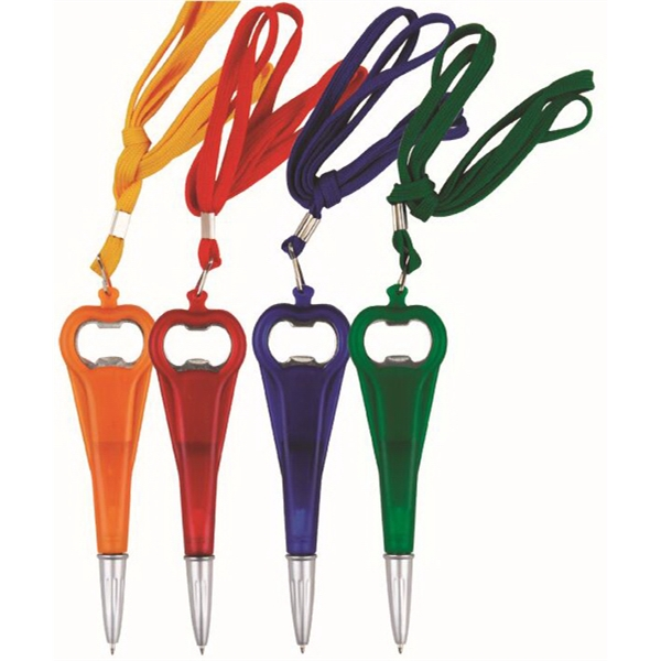 Ballpoint Pen With Opener & Lanyard