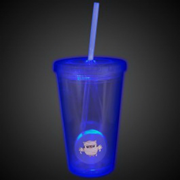 Blue Light Up Travel Cup with Custom Printed Insert