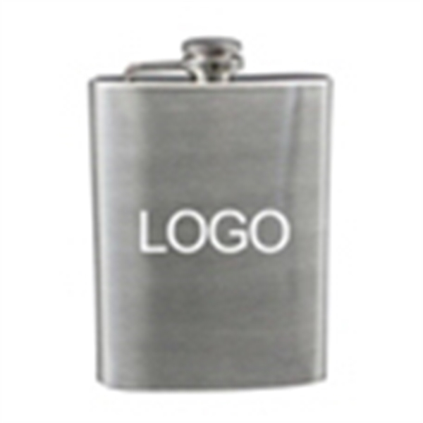 8 oz silver stainless steel man whiskey hip flask