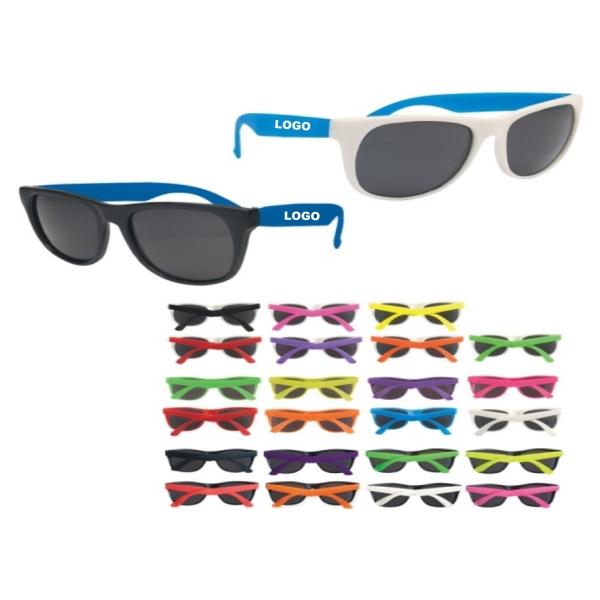 Rubberized promo sunglasses which print customer logo, UV400
