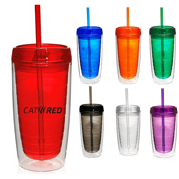 16 oz Double Wall Insulated Acrylic Tumbler w/Lid and Straw