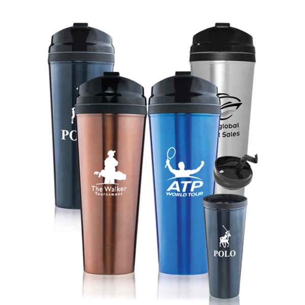 24 oz Stainless Steel Travel Mug w/ Plastic Lid