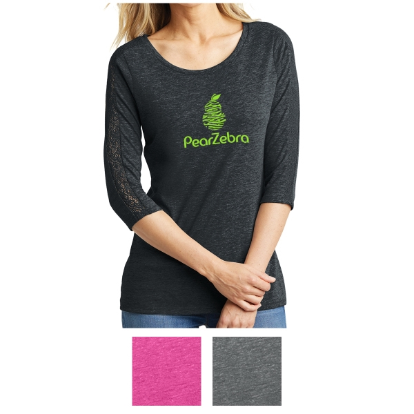 District Made Ladies' Tri-Blend Lace 3/4-Sleeve Tee