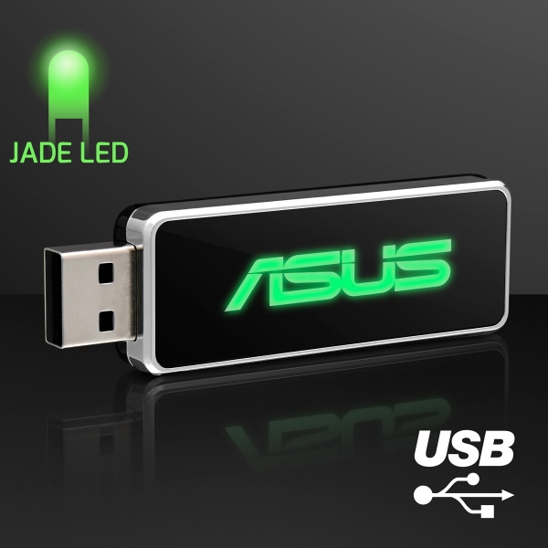 LED Logo USB On-The-Go Flash Drive, Green - 4 GB