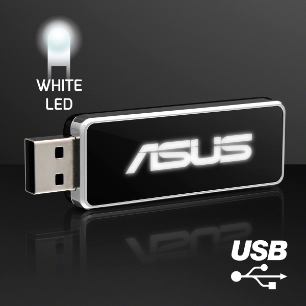 LED Logo USB On-The-Go Flash Drive, White - 4 GB