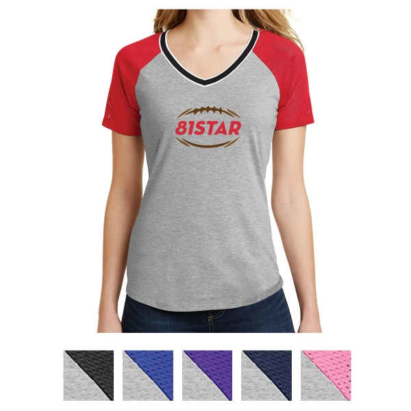 District Juniors' Mesh Sleeve V-Neck Tee
