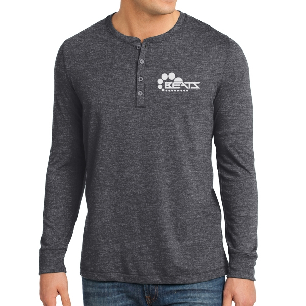 District Young Men's Gravel 50/50 Long Sleeve Henley Tee