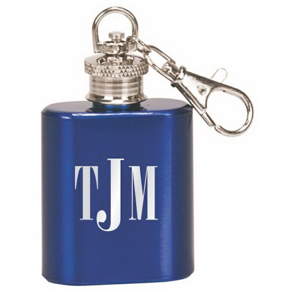 1 Oz. Gloss Blue Flask Key Chain
