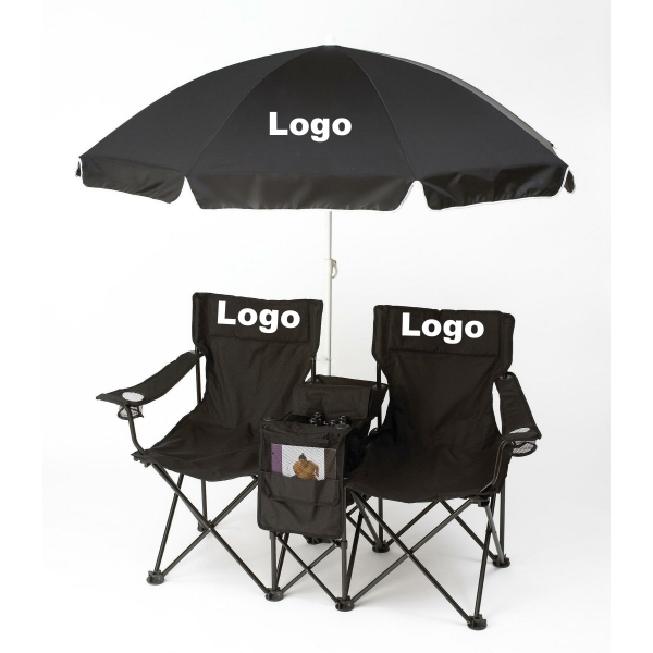 Folding Beach Chair Set with Umbrella and Cooler Bag