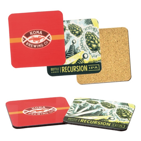 Hardboard & Cork Backed Square Coaster w/Full Color