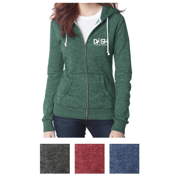 District Juniors' Marled Fleece Full-Zip Hoodie