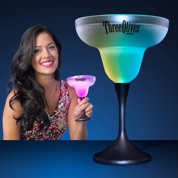 LED Margarita Glass with Classy Black Base