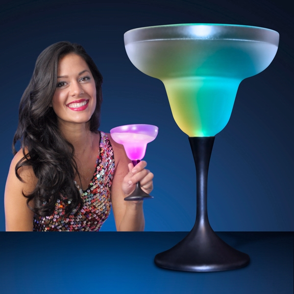 Frosted LED Margarita Glass with Classy Black Base