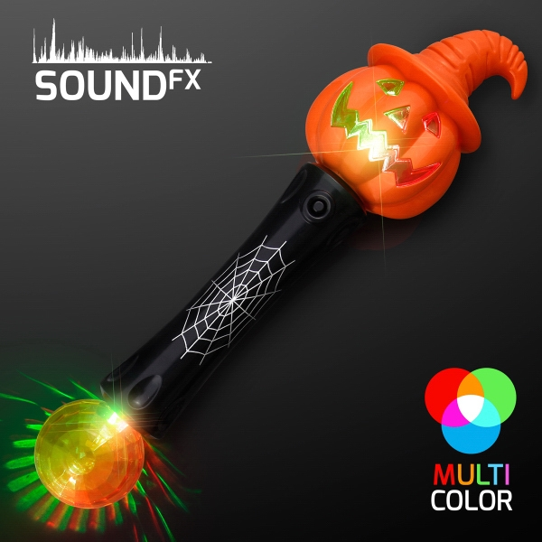 LED Witchy Pumpkin Wand with Sound & Lights