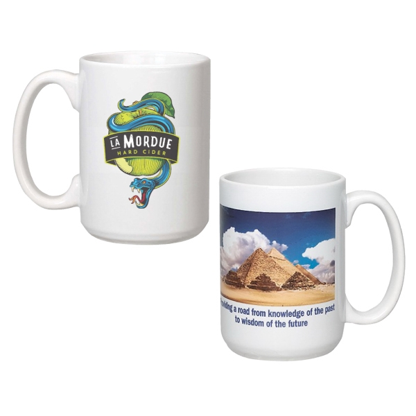15 oz. Giant White Ceramic Mug w/Full Color Sublimation