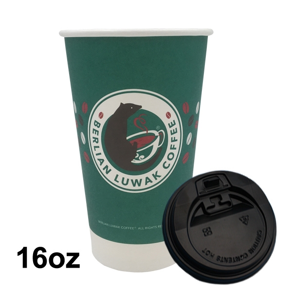16oz Single Wall Paper Hot Cup with Lid