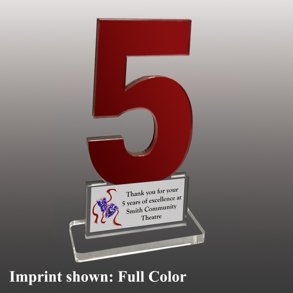 Number Five Shaped Acrylic Awards