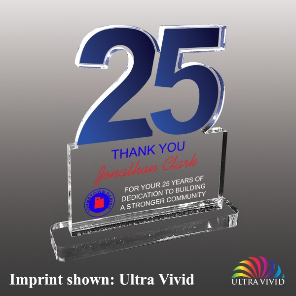 Number Twenty-Five Shaped Acrylic Awards