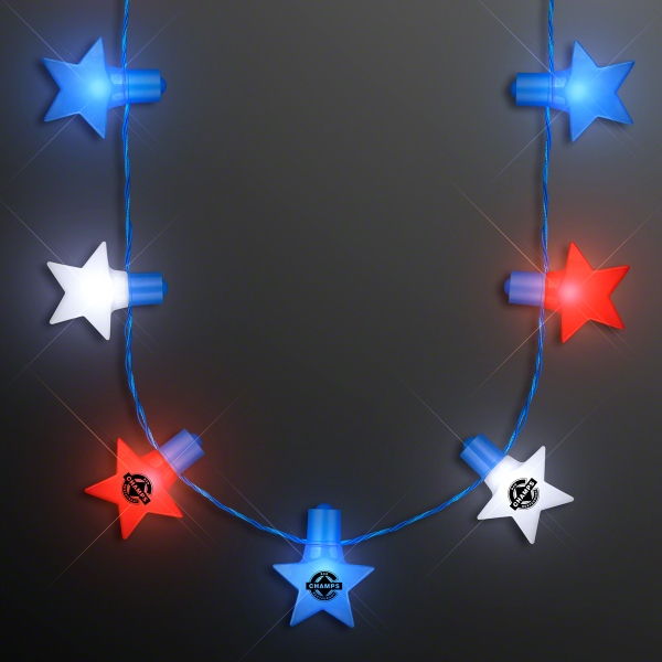 Red, White & Blue Stars String Lights Necklace