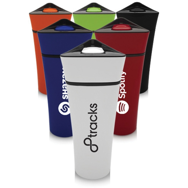 16 oz Plastic Travel Mugs w/ Triangular Lids