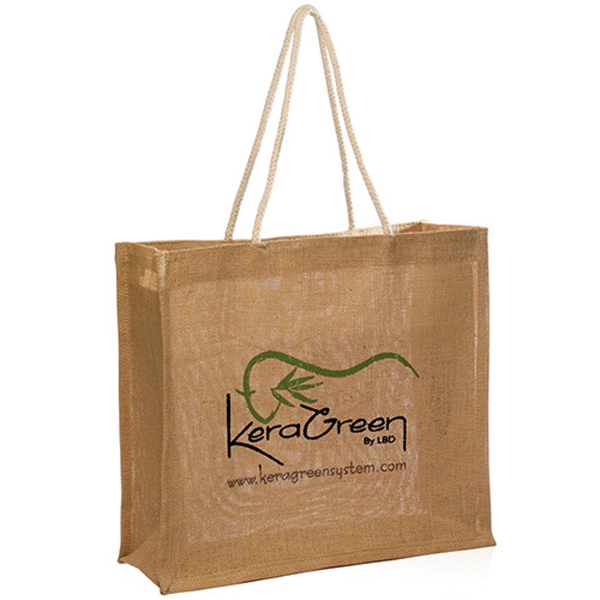 "16"" W x 14"" H Jute Bag with Rope Handle"